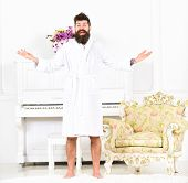 Happy Morning Concept. Man With Beard Enjoys Morning While Stand Near Piano And Old Fashioned Armcha poster