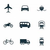 Постер, плакат: Set City Transport Icons Collection In Flat Design City Transport Vihecles Auto For Web Design P