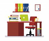 Large Modern Office With Big Chair. On Desk: Laptop, Folders With Papers, Photo In Frame. Under Tabl poster