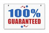 Hundred Percent Guaranteed Plaque Isolated On White Background. poster