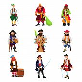 Pirate Vector Piratic Character Buccaneer Man In Pirating Costume In Hat With Sword Illustration Set poster