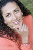 picture of black curly hair  - thinking woman - JPG