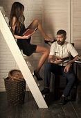 Sensual Young Couple Making Love. Desire To Learn, Study. Couple In Love Read Book Together. Bearded poster
