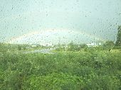 Rainbow Outside The Window. Raindrops On A Window. Rainy Days.rain-drops On A Window In Front Of A R poster