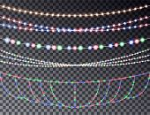 Vector Set Of Overlapping, Glowing Transparent Light Garlands Isolated On A Dark Background. Christm poster