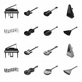 Musical Instrument Black, Monochrome Icons In Set Collection For Design. String And Wind Instrument  poster