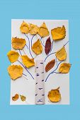 Autumn Crafts For Kids. Childrens Fall Crafts Made From Autumn Dry Yellow Leaves. Ideas For Childre poster