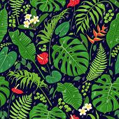 Seamless Pattern With Tropical Leaves, Flowers  And Falling Rain Drops On Dark Background. Tropic Ra poster