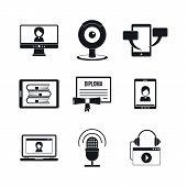 Webinar Training Online Learning Icons Set. Simple Illustration Of 9 Webinar Training Online Learnin poster