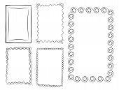 Hand Drawn Line Frames Vector Set. Rectangular Doodle Frameworks With Ornate Borders Illustrations C poster