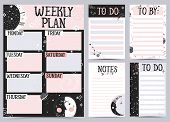 Weekly And Daily Planner Template. Organizer And Schedule With Notes And To Do List. Vector Illustra poster