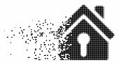 Dissolved Home Keyhole Dotted Vector Icon With Disintegration Effect. Rectangular Pixels Are Organiz poster