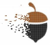 Fractured Oak Acorn Dotted Vector Icon With Disintegration Effect. Rectangular Pixels Are Composed I poster