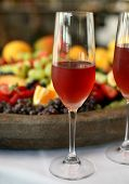 image of crudites  - Wine served with a mixed fruit and cheese platter