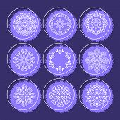 Big Set Of Snowflakes. Christmas Card With Snowflakes On A Blue        Background.beautiful Snowflak poster
