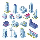 City Buildings 3d Isometric Projection For Map. Gray Houses, Manufactured Area, Storage, Garage, Sho poster