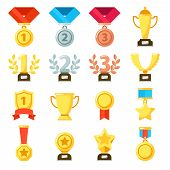 Achievement Award, Achiever Trophy, Achievements Ribbon Medal Star Icon. Gold, Silver, Bronze Medals poster