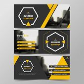 Yellow Hexagon Abstract Corporate Business Banner Template, Horizontal Advertising Business Banner L poster