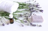 Spa Treatment And Massage Products With Towel, Aromatic Oil , Natural Soap And Lavender Flowers On A poster