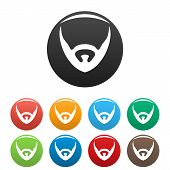 Short Beard Icon. Simple Illustration Of Short Beard Vector Icons Set Color Isolated On White poster