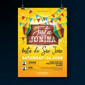 Festa Junina Party Flyer Illustration With Typography Design On Vintage Wood Board. Flags And Paper  poster