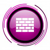 Firewall pink glossy web icon isolated on white background poster