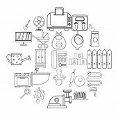 Home Appliances Icons Set. Outline Set Of 25 Home Appliances Vector Icons For Web Isolated On White  poster