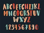 Creative Hand Drawn Latin Font Or Childish English Alphabet Decorated With Scribble. Colorful Letter poster
