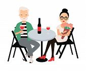 Pair Of Man And Woman Dressed In Elegant Clothing Sitting At Table And Drinking Red Wine. Couple On  poster