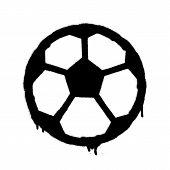 Sprayed Football Ball Icon. Graffiti Overspray In Black Over White. Vector Graffiti Art Illustration poster
