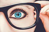 Beautiful Young Woman Wearing Glasses. Close-up Shot  Beautiful Young Woman Wearing Glasses. Close-u poster