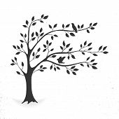 Illustration Tree With Leaves And Birds. Silhouette On White Background. poster