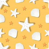 Seamless Pattern With Marine Shells And Starfish, White Aquatic Nautical Shellfish And Coral Stars I poster