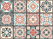 Vector Tiles Patterns. Seamless Flourish Backgrounds With Blue Red Flower Elements. Arabic Decorativ poster