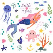 Cute Set Little Mermaid And Underwater World. Fairytale Princess Mermaid And Octopus, Fish, Jellyfis poster