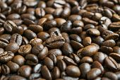 Coffee Beans On Wooden Table poster