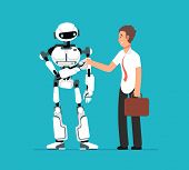 Businessman Shaking Robots Hand. Artificial Intelligence, Human Vs Robot Vector Futuristic Backgroun poster