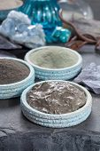 Ancient Nature Minerals, Different Types Of Clay Used For Skincare, Spa Treatments, Face Masks, Gray poster