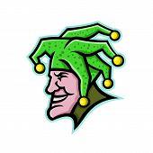 Mascot Icon Illustration Of Head Of A Harlequin, Jester, Minstrel, Joker, Medieval Singer Or Musicia poster