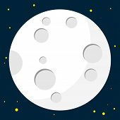 Full Moon Design. Night Space Astronomy And Nature Moon Icon. Gibbous Vector On Dark Background. Car poster
