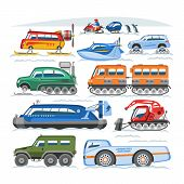 Snow Truck Vector Winter Vehicle Or Snowmobiling Transport And Snowy Transportation Illustration Set poster