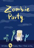 Zombie Party Poster With Zombies Hands In Graveyard. Walking Dead In Cemetery Illustration. Hallowee poster