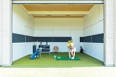 Full length of a dedicated golf coach using modern equipment, while teaching a young woman the corre poster