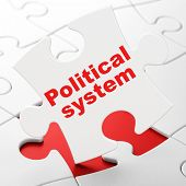 Political Concept: Political System On White Puzzle Pieces Background, 3d Rendering poster