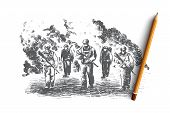 War Concept. Hand Drawn Soldiers Fighting At War. Battle Scene Isolated Vector Illustration. poster