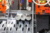 Steel Bar Cutting By Band Saw Machine With Coolant poster