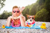 Dog And Owner At The Beach poster