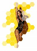 Young Sexy Slim Tanned Woman In Black Swimsuit Posing Against Yellow Background. Fashion Portrait Of poster