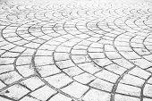 Постер, плакат: Close Up Perspective Of Stone Pavement Stone Pavement Texture Granite Cobble Stone Pavement Backgr