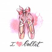 Illustration, Hand Drawn  Pair Of Well-worn Ballet Pointes Shoes. Watercolor Illustration With Moder poster